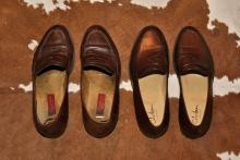 two pairs of empty shoes